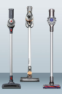 Vax, Hoover and Dyson cordless vacuums side-by-side