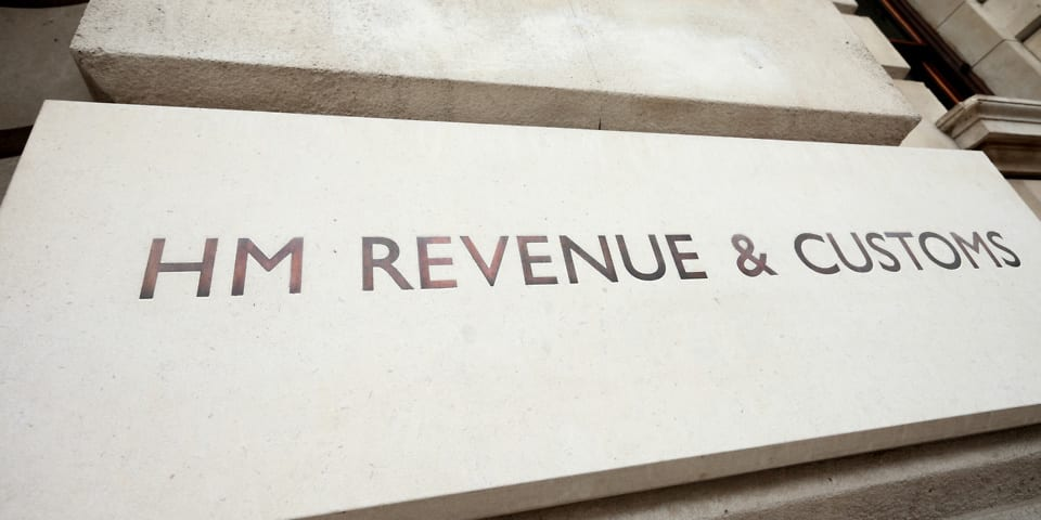 Sign outside the HMRC offices in Whitehall, London.