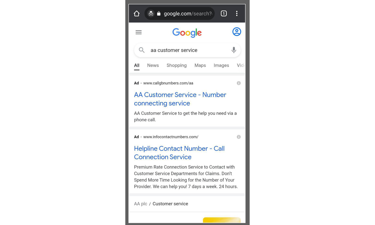 Google search results showing adverts for call connecting services