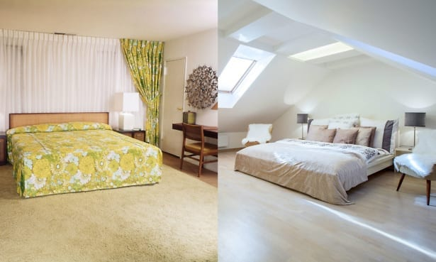 Old-fashioned vs modern bedrooms