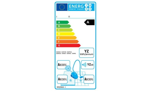 The vacuum cleaners energy label
