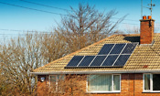 Solar PV panels on roof of house