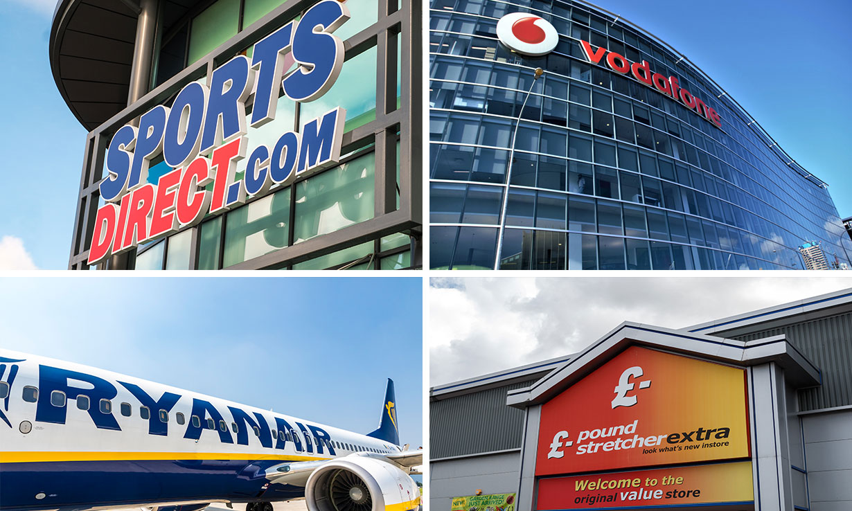 Four worst brands for customer service: Sports Direct, Vodafone, Ryanair, Poundstretcher