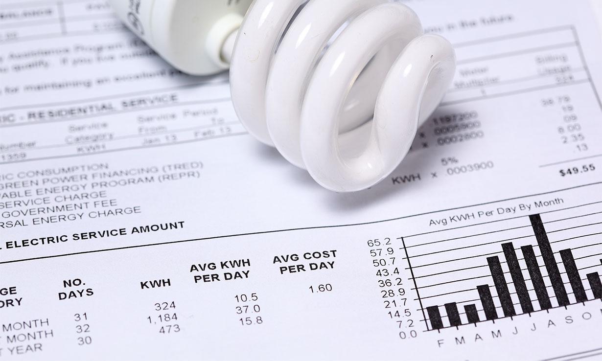 Energy bill and light bulb