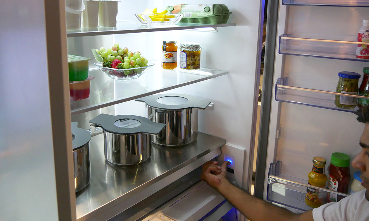 Beko concept fridge freezer with hot pan storage
