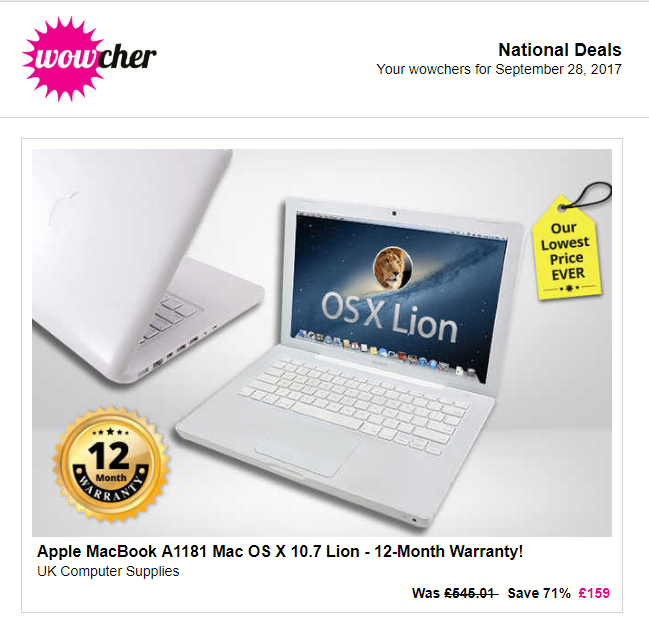 Wowcher MacBook Email