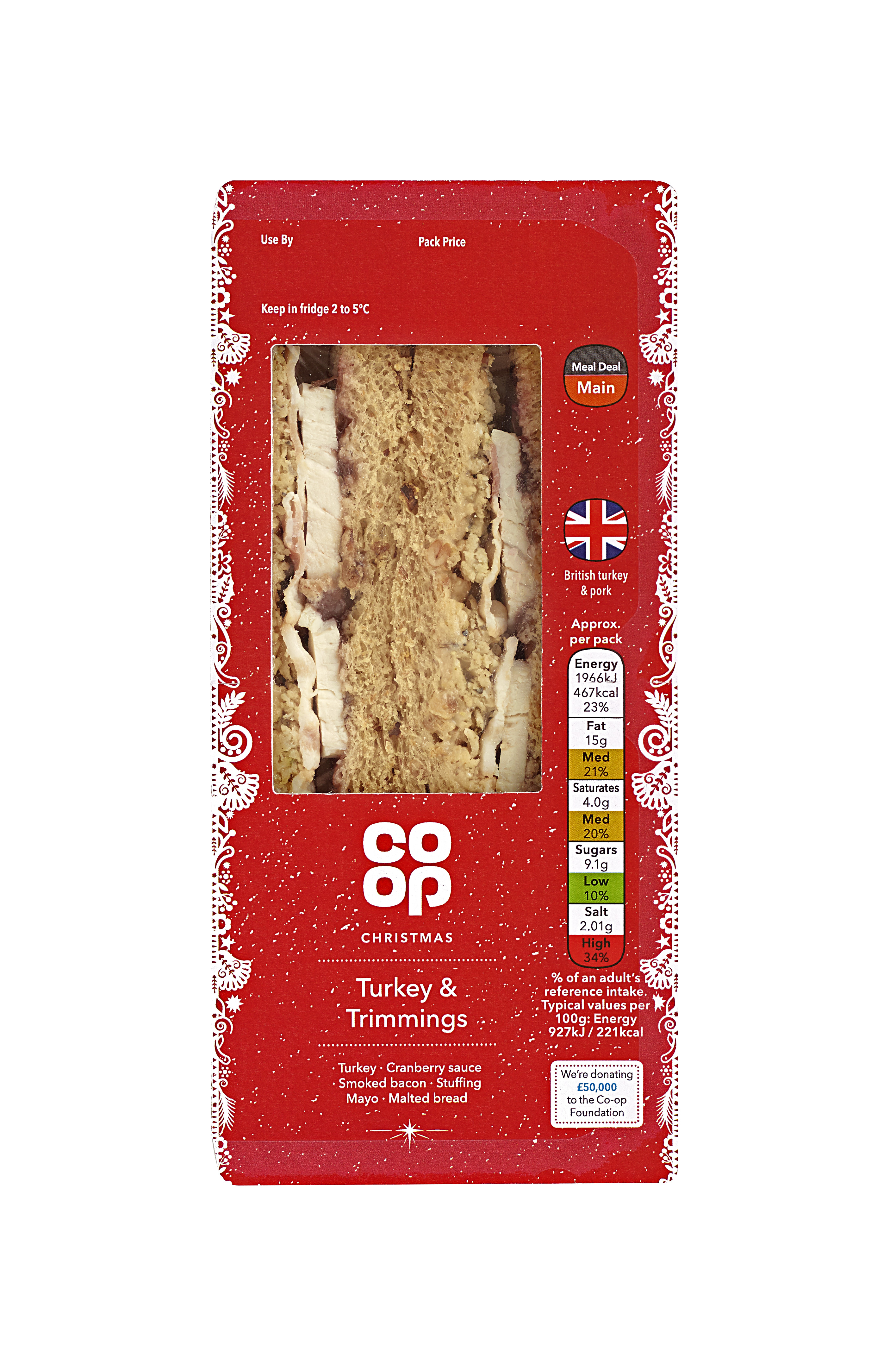 co-op turkey and trimmings sandwich