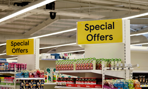 end of aisle special offers in a uk tesco supermarket