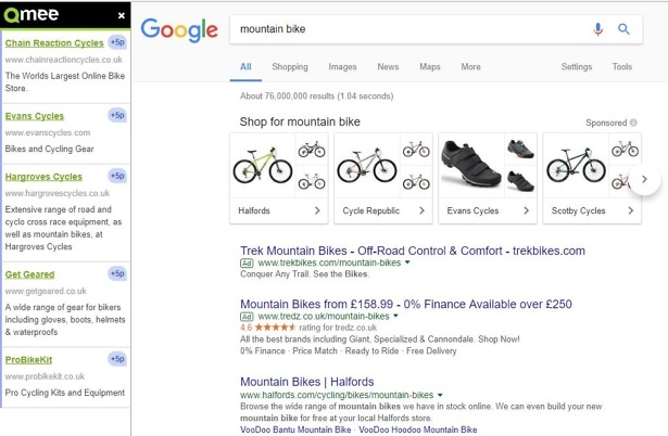 Qmee paid search results mountain bike