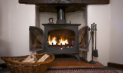 Wood burning stove lit