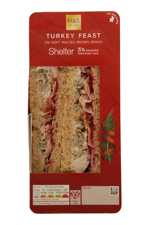 M&S help shelter turkey feast Christmas sandwich