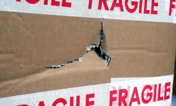 Parcel damaged by delivery company despite the fragile warning tape!