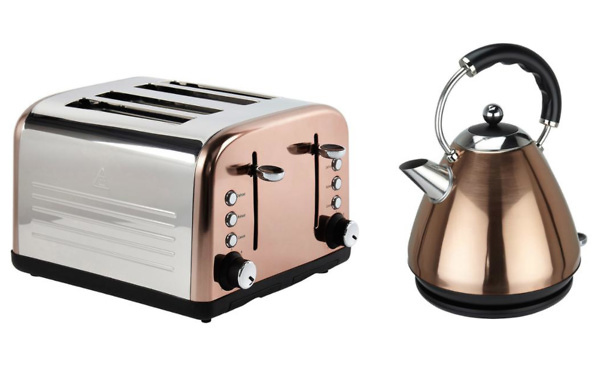 Sainsburys copper kettle and toaster