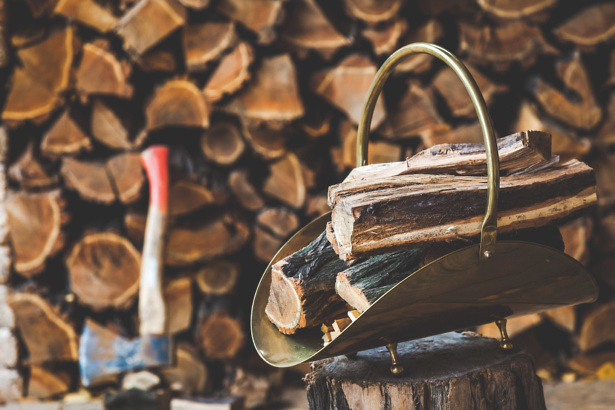 Wood logs stacked to use in a stove