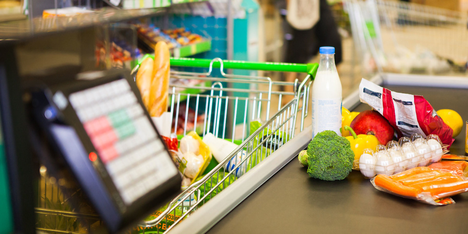 Which was the cheapest supermarket in April?