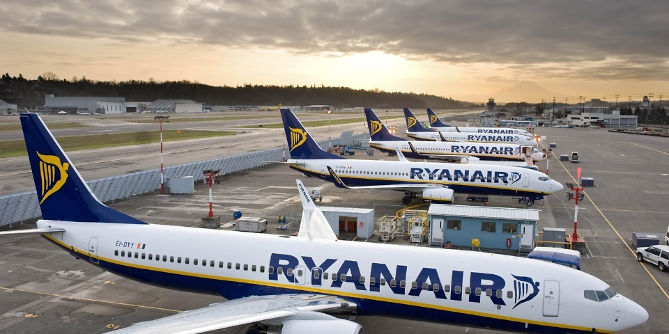 Ryanair planes on stand