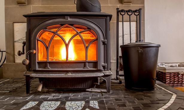 Wood burning stove fireplace