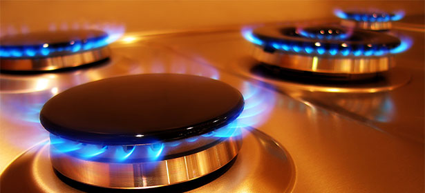 Gas rings on a hob