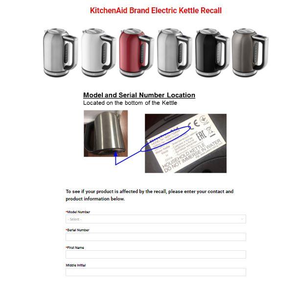 KitchenAid recall form
