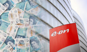 Eon logo with piles of money