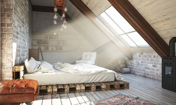 Loft conversion bedroom with big skylight