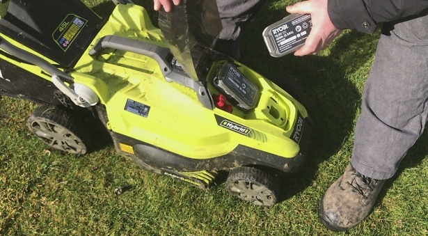 The Ryobi hybrid mower will run on batteries or power cable