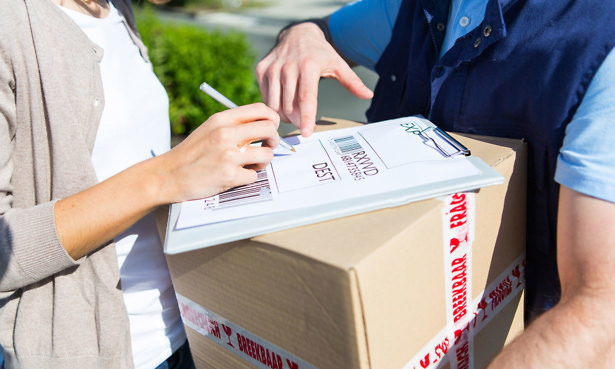 Signing for delivery of parcel