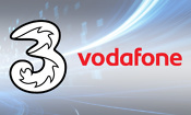 Three and Vodafone logos