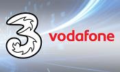 Three and Vodafone logos