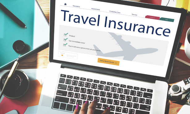travel insurance shown on laptop