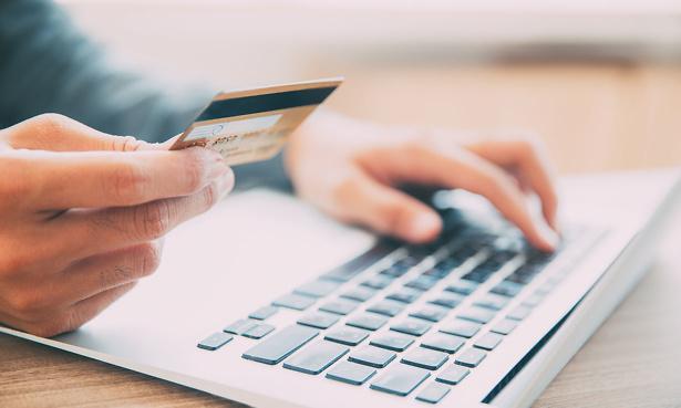 Paying online using laptop