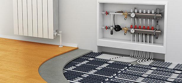 Water underfloor heating shown before the floor is laid over the top.