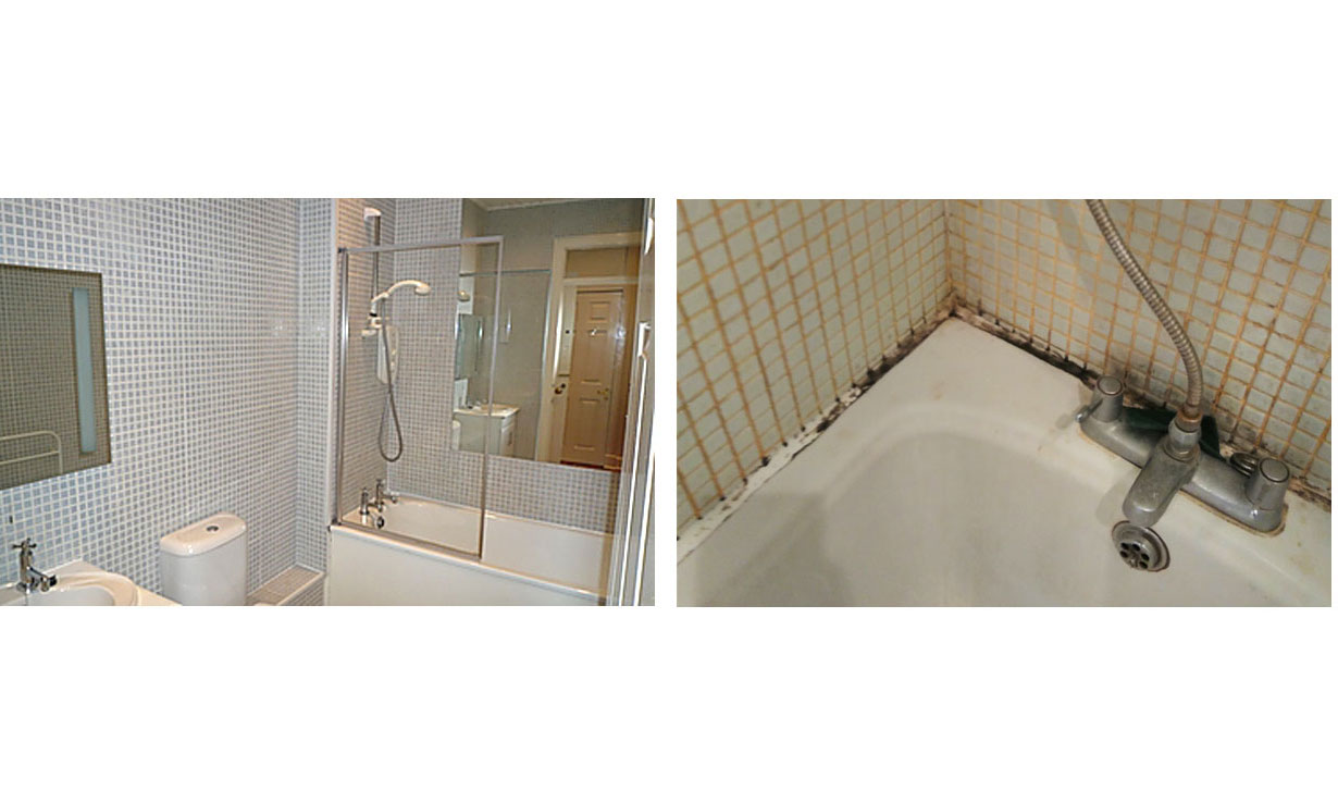 Before and after: image of a nice clean bathroom, vs the reality of a bathroom with mould.