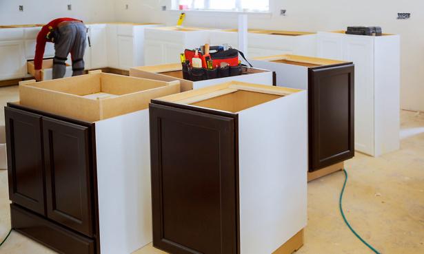 A kitchen being installed