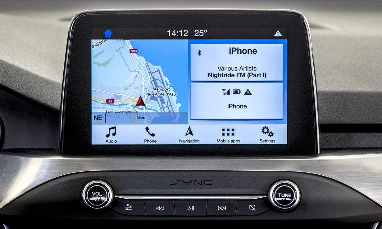 It comes with an even larger eight-inch colour touchscreen, satellite  navigation and more connectivity options to your devices using FordPass  Connect.