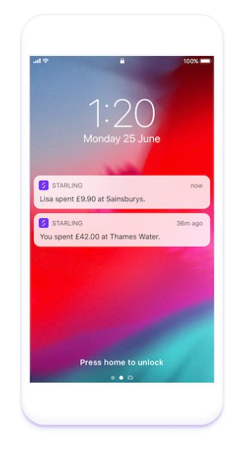 Starling Bank joint payment notification