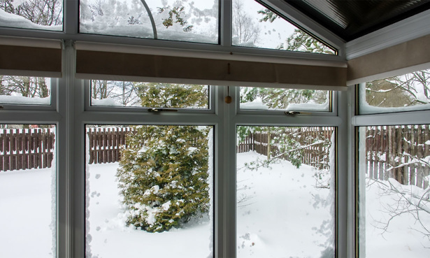 Conservatory with snow outside