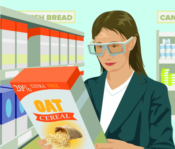 woman wearing eyetracking glasses holding cereal box