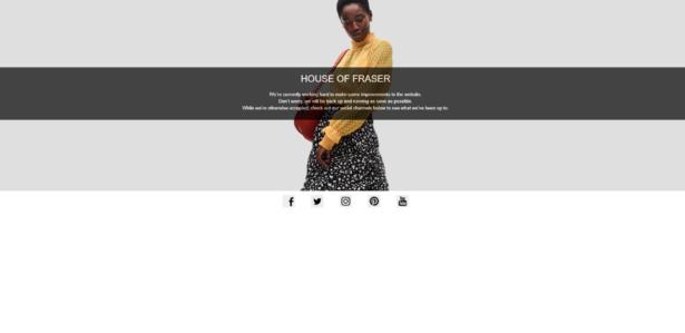House of Fraser website down for maintenance on 15 August 2018