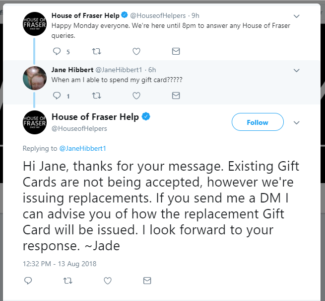 House Of Fraser Rejects Gift Cards