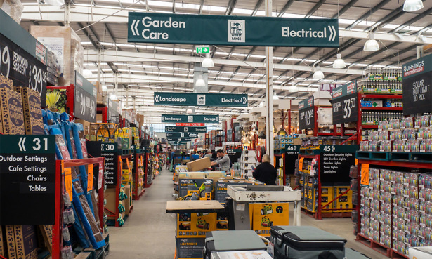 Inside a Homebase store braded as Bunnings