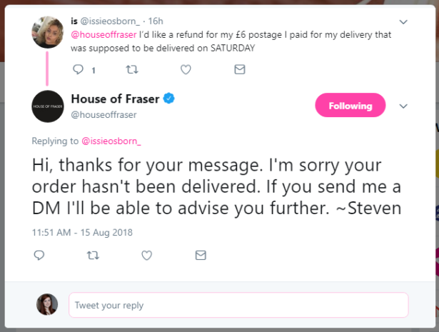 House of Fraser customer requests refund for late timed delivery