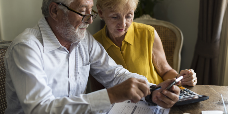 Senior couple making PPI claim
