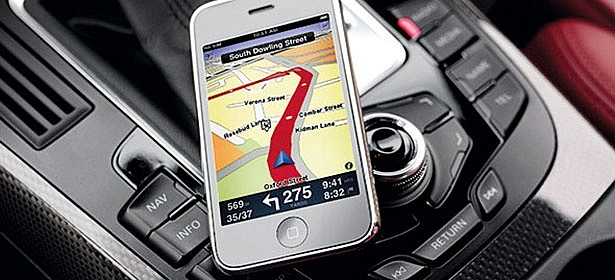 Phone with sat nav app