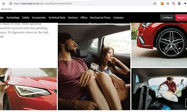 Screenshot of Seat Ibiza website - one image shows the middle and rear seats being used, although the car is not in motion