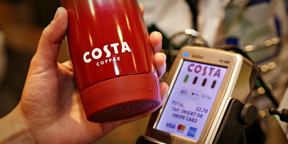 Costa Coffee launches first-ever contactless payment reusable cup