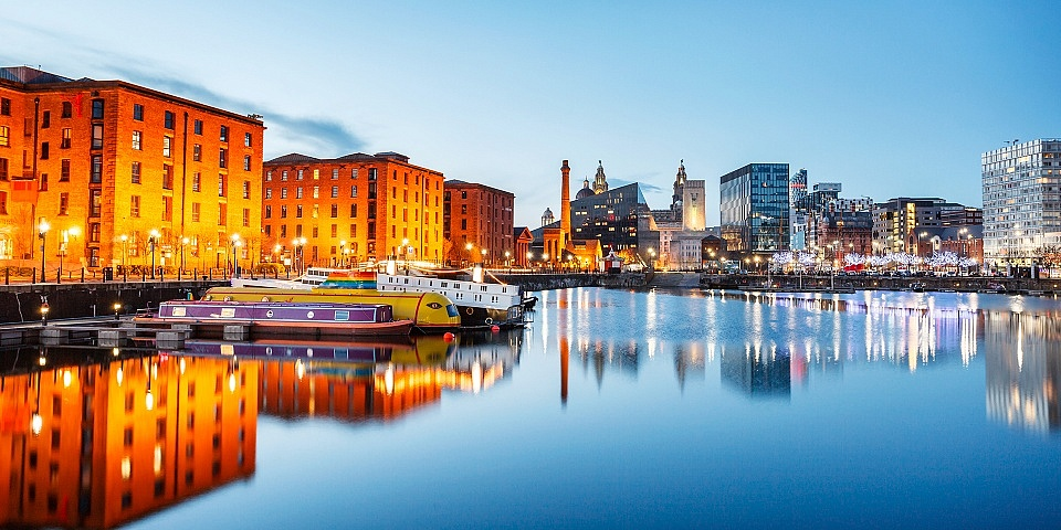 Liverpool lit up at night