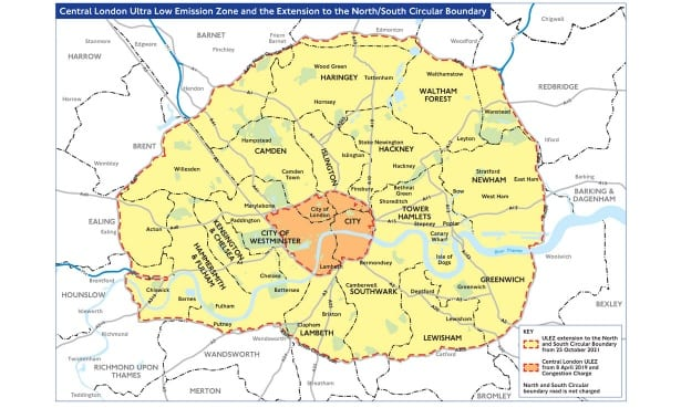 ULEZ expanded map from 2021