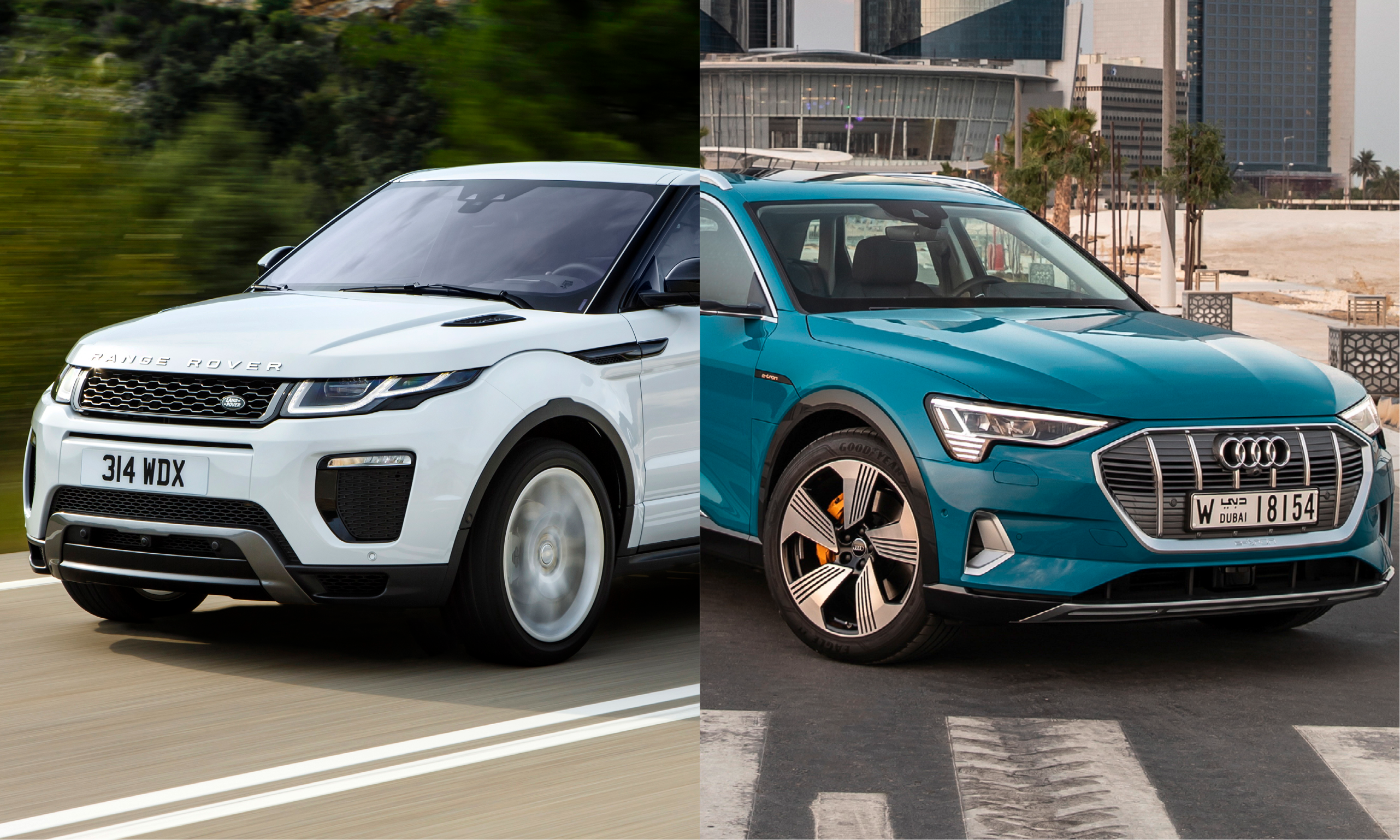 2019 models of the Land Rover Evoque and Audi e-tron