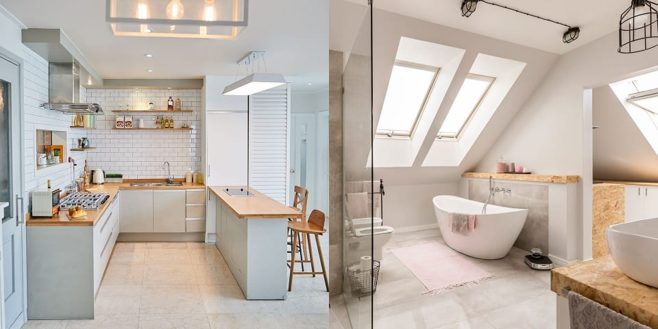 Modern kitchen and bathroom
